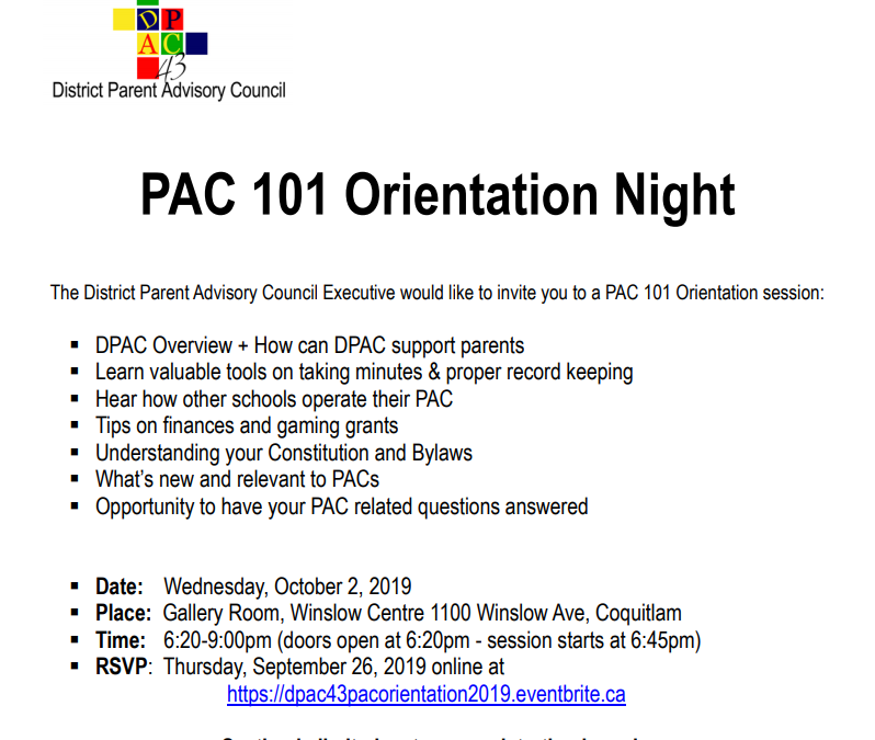 PAC 101 Orientation Night